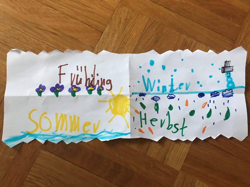 Stella hat auf diesem Bild die Jahreszeiten aufgeschrieben.